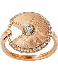Cartier | Amulette De 18ct Pink-gold And Diamond Ring | Lyst