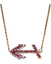 Annina Vogel - Multicolor Bespoke Diamond And Ruby Anchor Necklace - Lyst