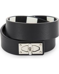 Givenchy - Black Double-wrap Shark Tooth Leather Bracelet - Lyst
