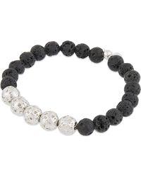 Tateossian - Black Silver Lava Bead Bracelet - Lyst