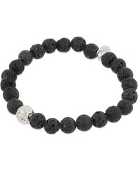 Tateossian - Black Lava Bead And Silver Bead Bracelet - Lyst