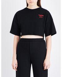 BOY London | Black Eagle-print Cotton-jersey Cropped Top | Lyst