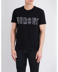 Versus  | Black Embellished Cotton-jersey T-shirt for Men | Lyst