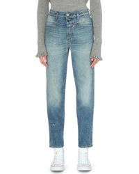 Closed | Blue Pedal Pusher High-rise Glitter-finish Jeans | Lyst