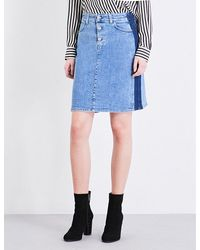 Closed | Blue Two-tone Denim Skirt | Lyst