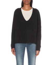 Closed - Black Deep V-neck Alpaca-blend Knitted Jumper - Lyst
