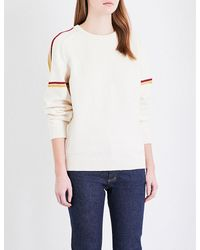 Closed   White Striped Knitted Jumper   Lyst