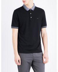 Michael Kors | Black Cotton-jersey Polo Shirt for Men | Lyst