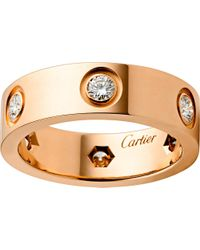 Cartier | Love 18ct Pink-gold And Diamond Ring | Lyst