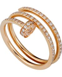 Cartier | Juste Un Clou 18ct Pink-gold And Diamond Double Ring | Lyst