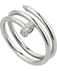Cartier | Juste Un Clou 18ct White-gold And Diamond Double Ring | Lyst