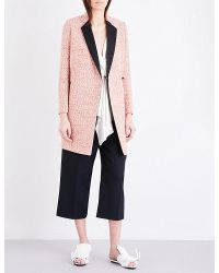 Victoria Beckham | Multicolor Textured-weave Virgin Wool-blend Coat | Lyst