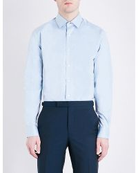 Duchamp | Blue Patterned Tailored-fit Cotton-twill Shirt for Men | Lyst