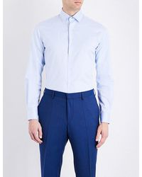 Duchamp | Blue Herringbone Tailored-fit Cotton Shirt for Men | Lyst