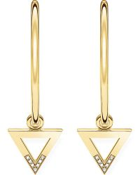 Thomas Sabo - Triangle 18ct Yellow Gold-plated And Diamond Hoop Earrings - Lyst