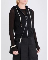 DRKSHDW by Rick Owens - Black Sleeveless Cropped Cotton-jersey Hoody - Lyst