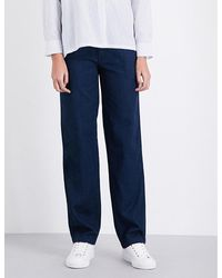 VINCE | Blue Rinsed Relaxed-fit Denim Trousers | Lyst