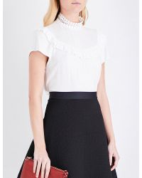 Sandro - White Guipure Lace Ruffled Woven Top - Lyst