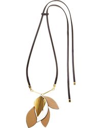 Marni - Black Leather And Metal Leaf Pendant Necklace - Lyst