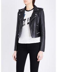 Maje | Black Basalt Leather Jacket | Lyst