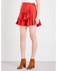 Maje | Red Jahima Ruffled Floral-jacquard Skirt | Lyst