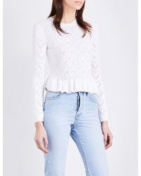 Maje | White Malice Frilled Knitted Jumper | Lyst
