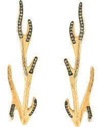 Christina Debs - Brown Mother Nature 18ct Pink-gold And Diamond Earrings - Lyst