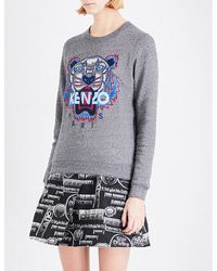 KENZO | Gray Tiger-embroidered Cotton-jersey Sweatshirt | Lyst