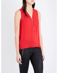 The Kooples Sport - Red Zip-front Silk Top - Lyst