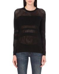 The Kooples | Black Panelled Open-knit Jumper | Lyst