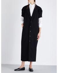 Yohji Yamamoto - Black Pleated-sleeve Wool Coat - Lyst