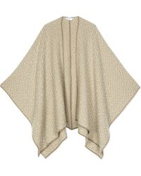 Max Mara   Natural Knitted Virgin Wool Cape Scarf   Lyst