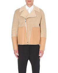 Loewe - Natural Contrast Suede And Shearling Biker Jacket for Men - Lyst