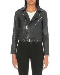 Maje   Black Leather Biker Jacket   Lyst