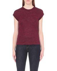 Maje | Multicolor Tom Sheer-yoke Linen-jersey T-shirt | Lyst