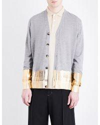 Loewe - Gray Metallic-trim Knitted Wool Cardigan for Men - Lyst
