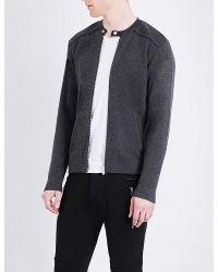 The Kooples Sport | Black Leather-trim Wool And Cotton-blend Cardigan for Men | Lyst