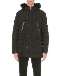 The Kooples | Black Hooded Shell Parka Coat for Men | Lyst
