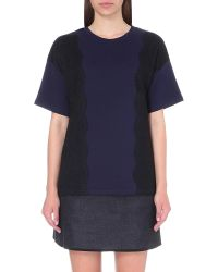 Izzue - Blue Lace Embroidered Cotton-jersey T-shirt - Lyst