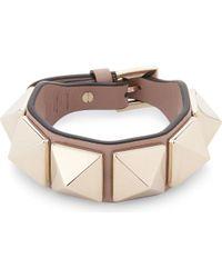 Valentino | Brown Large Rockstud Leather Bracelet | Lyst