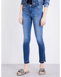 J Brand   Blue 811 Released-hem Skinny Mid-rise Jeans   Lyst