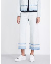 J Brand   White Liza Wide Mid-rise Jeans   Lyst