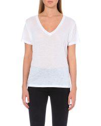 J Brand - White Janis V-neck T-shirt - Lyst