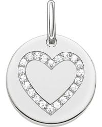 Thomas Sabo | Metallic Love Coin Engravable Sterling Silver Heart Pendant | Lyst