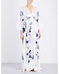 Meng | White Floral-print Silk-satin Robe | Lyst