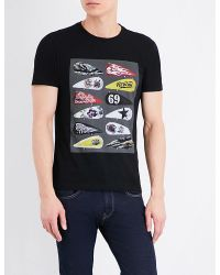 Replay   Black Motorcycle-graphic Cotton-jersey T-shirt for Men   Lyst