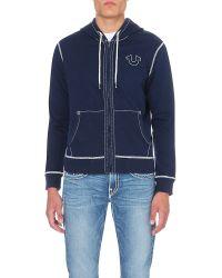 True Religion - Blue Stitching-detail Jersey Hoody for Men - Lyst