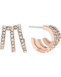 Michael Kors - Multicolor Modern Brilliance Rose Gold-toned Pavé Earrings - Lyst