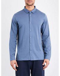 Sunspel - Blue Collared Cotton-jersey Sleep Shirt for Men - Lyst