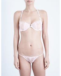 Free People - Pink Fancy Back Stretch-lace And Mesh Underwired Bra - Lyst
